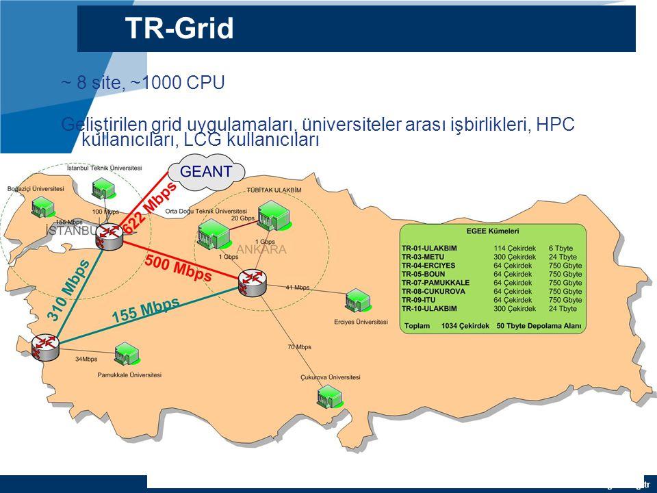 YEF @ TR-Grid Okulu, TAEK, ANKARA TR-Grid Altyapısı 7 Grid Sitesi: –TR-01-ULAKBIM (66 Çekirdek, 4 TB) –TR-03-METU (312 Çekirdek, 12 TB) –TR-04-ERCIYES (64 Çekirdek, 0.75 TB) –TR-05-BOUN (64 Çekirdek, 0.75 TB) –TR-07-PAMUKKALE (64 Çekirdek, 0.75 TB) –TR-09-ITU (64 Çekirdek, 0.75 TB) –TR-10-ULAKBIM (372 Çekirdek, 12 TB) Toplam grid kaynağı: 998 Çekirdek, ~40 TB Depolama Desteklenen sanal organizasyonlar: atlas, cms, biomed, ops, dteam, see, seegrid, sgdemo, eumed, trgrida, trgridb, trgridd, trgride