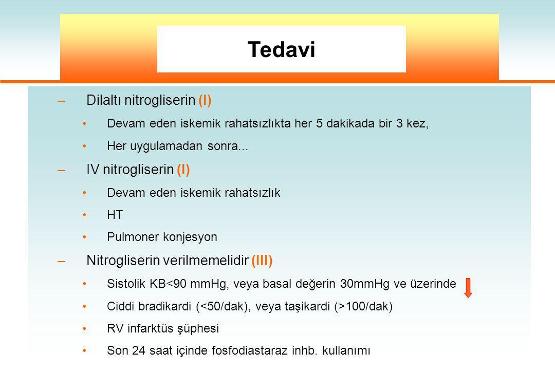 –Dilaltı nitrogliserin (I) Devam eden iskemik rahatsızlıkta her 5 dakikada bir 3 kez, Her uygulamadan sonra... –IV nitrogliserin (I) Devam eden iskemi
