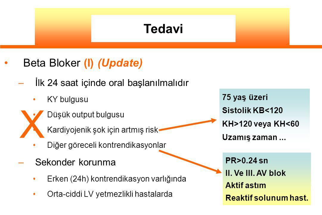Beta Bloker (I) (Update) –İlk 24 saat içinde oral başlanılmalıdır KY bulgusu Düşük output bulgusu Kardiyojenik şok için artmış risk Diğer göreceli kontrendikasyonlar –Sekonder korunma Erken (24h) kontrendikasyon varlığında Orta-ciddi LV yetmezlikli hastalarda 75 yaş üzeri Sistolik KB<120 KH>120 veya KH<60 Uzamış zaman...