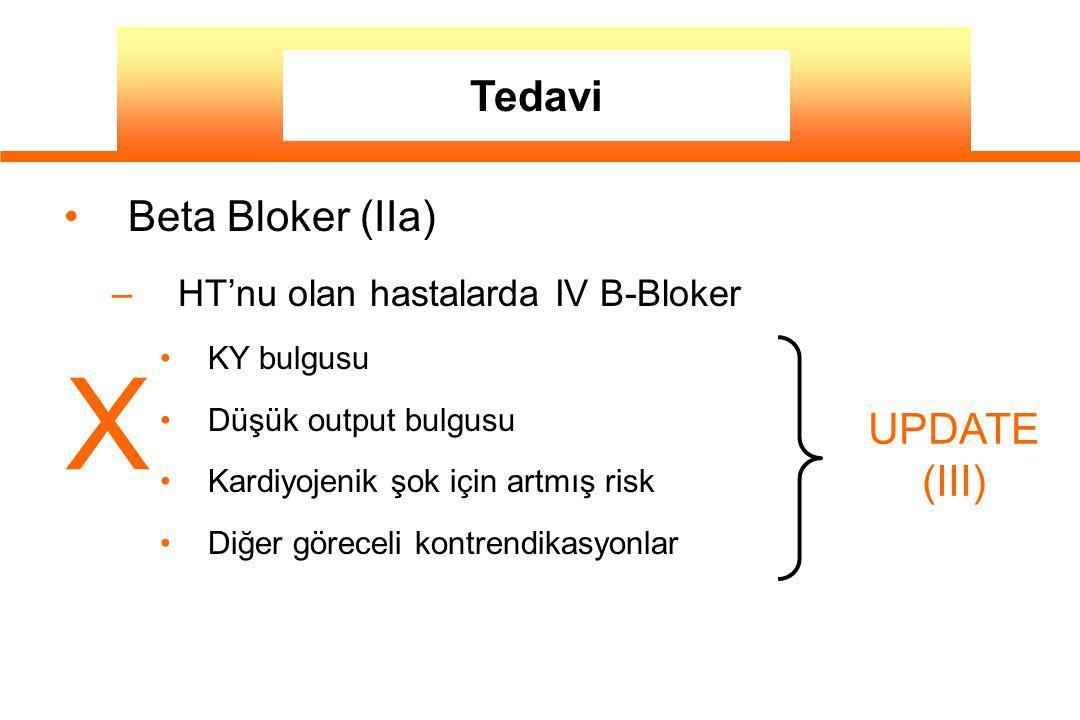 Beta Bloker (IIa) – HT'nu olan hastalarda IV B-Bloker KY bulgusu Düşük output bulgusu Kardiyojenik şok için artmış risk Diğer göreceli kontrendikasyon