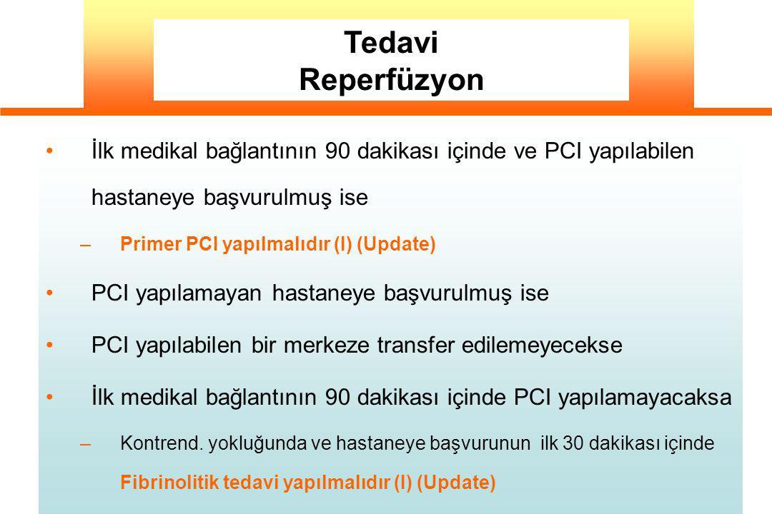 İlk medikal bağlantının 90 dakikası içinde ve PCI yapılabilen hastaneye başvurulmuş ise –Primer PCI yapılmalıdır (I) (Update) PCI yapılamayan hastaney