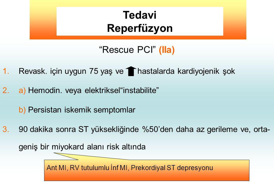 """""""Rescue PCI"""" (IIa) 1.Revask. için uygun 75 yaş ve hastalarda kardiyojenik şok 2.a) Hemodin. veya elektriksel""""instabilite"""" b) Persistan iskemik semptom"""