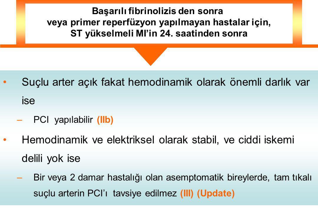 Suçlu arter açık fakat hemodinamik olarak önemli darlık var ise –PCI yapılabilir (IIb) Hemodinamik ve elektriksel olarak stabil, ve ciddi iskemi delili yok ise –Bir veya 2 damar hastalığı olan asemptomatik bireylerde, tam tıkalı suçlu arterin PCI'ı tavsiye edilmez (III) (Update) Başarılı fibrinolizis den sonra veya primer reperfüzyon yapılmayan hastalar için, ST yükselmeli MI'in 24.