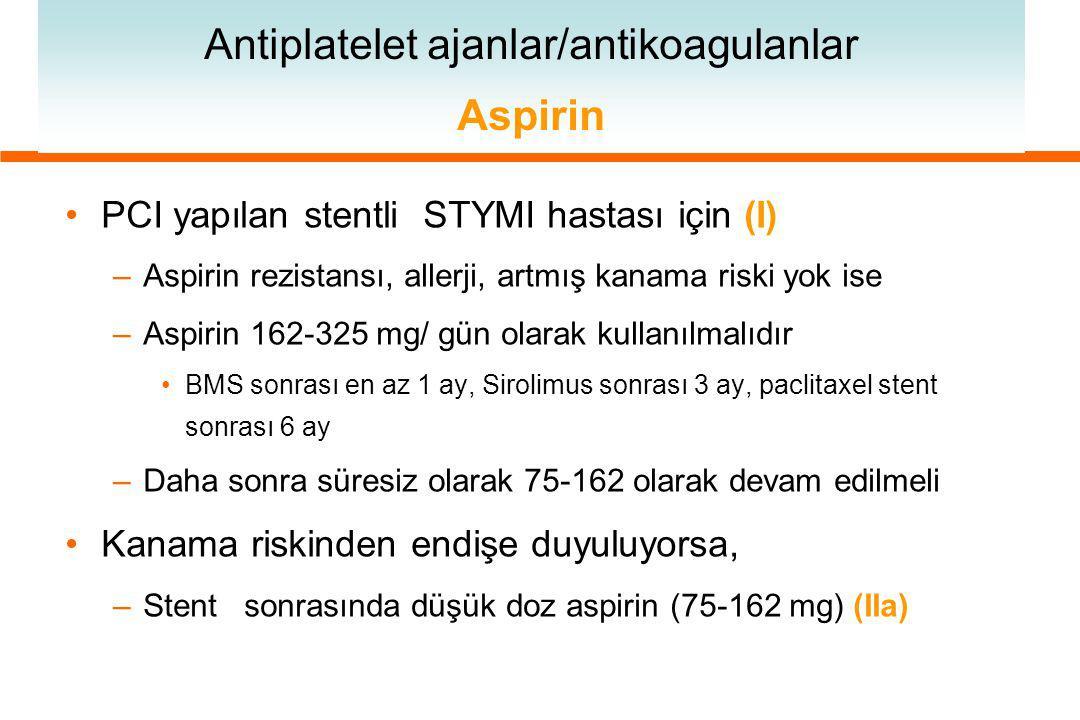 Antiplatelet ajanlar/antikoagulanlar Aspirin PCI yapılan stentli STYMI hastası için (I) –Aspirin rezistansı, allerji, artmış kanama riski yok ise –Aspirin 162-325 mg/ gün olarak kullanılmalıdır BMS sonrası en az 1 ay, Sirolimus sonrası 3 ay, paclitaxel stent sonrası 6 ay –Daha sonra süresiz olarak 75-162 olarak devam edilmeli Kanama riskinden endişe duyuluyorsa, –Stent sonrasında düşük doz aspirin (75-162 mg) (IIa)