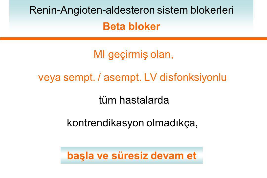 MI geçirmiş olan, veya sempt. / asempt. LV disfonksiyonlu tüm hastalarda kontrendikasyon olmadıkça, Renin-Angioten-aldesteron sistem blokerleri Beta b