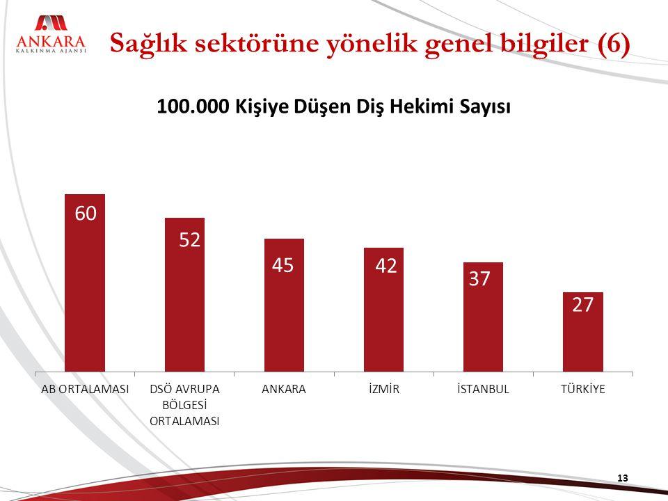 100.000 Kişiye Düşen Diş Hekimi Sayısı 13 Sağlık sektörüne yönelik genel bilgiler (6)