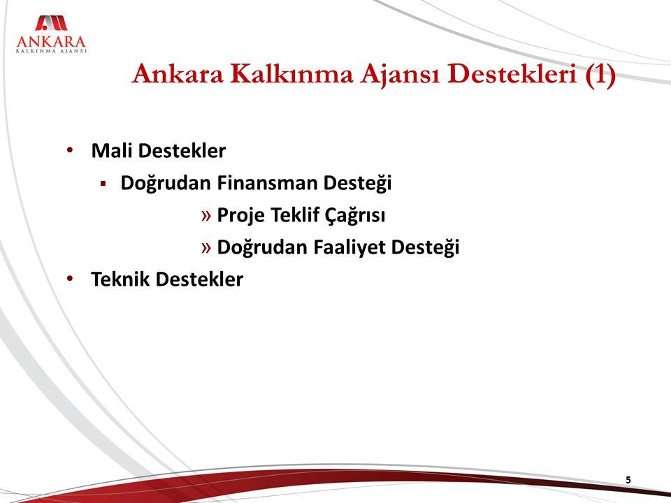 Ankara Kalkınma Ajansı Destekleri (2) Doğrudan Finansman Desteği, bölgede gerçekleştirilecek stratejik araştırma, planlama ve fizibilite çalışmalarına destek amacı taşımaktadır.