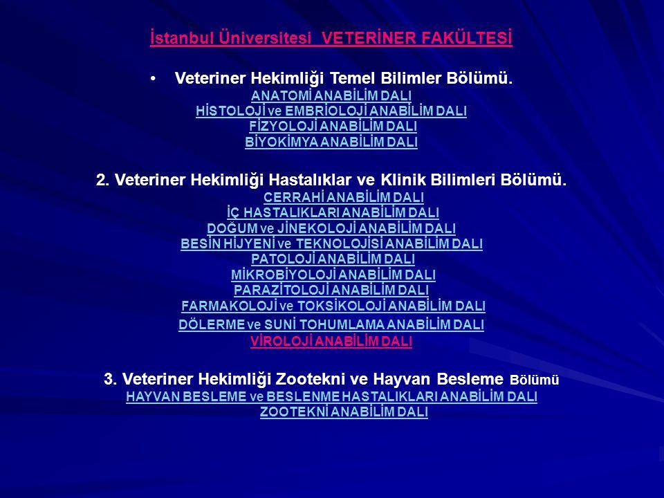Ankara Üniv.Veteriner Fakültesi 1Temel Bilimler Bölümü2 Klinik Bilimleri Böl.3 Klinik Öncesi Bilimler Anatomi Anabilim Dalı Biyokimya Anabilim Dalı Hi