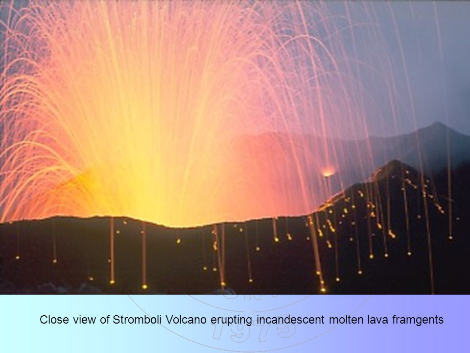 Close view of Stromboli Volcano erupting incandescent molten lava framgents