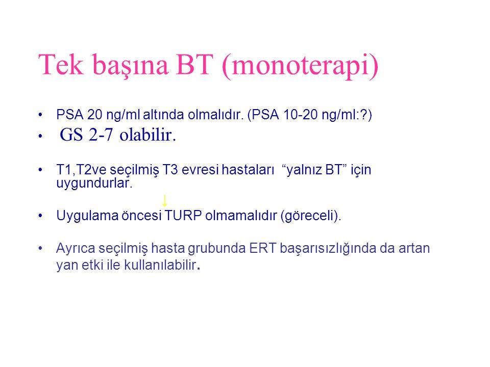 """Tek başına BT (monoterapi) PSA 20 ng/ml altında olmalıdır. (PSA 10-20 ng/ml:?) GS 2-7 olabilir. T1,T2ve seçilmiş T3 evresi hastaları """"yalnız BT"""" için"""