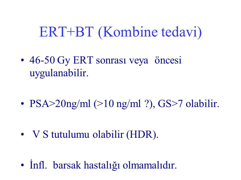 ERT+BT (Kombine tedavi) 46-50 Gy ERT sonrası veya öncesi uygulanabilir. PSA>20ng/ml (>10 ng/ml ?), GS>7 olabilir. V S tutulumu olabilir (HDR). İnfl. b