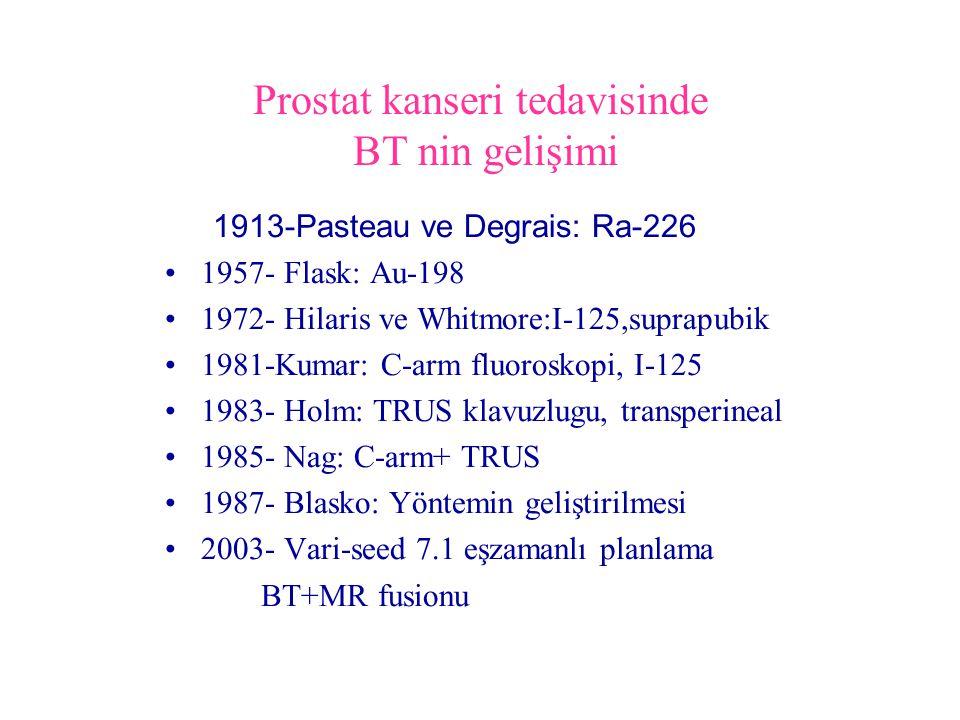 Prostat kanseri tedavisinde BT nin gelişimi 1913-Pasteau ve Degrais: Ra-226 1957- Flask: Au-198 1972- Hilaris ve Whitmore:I-125,suprapubik 1981-Kumar: