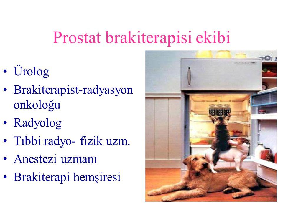 Prostat brakiterapisi ekibi Ürolog Brakiterapist-radyasyon onkoloğu Radyolog Tıbbi radyo- fizik uzm. Anestezi uzmanı Brakiterapi hemşiresi
