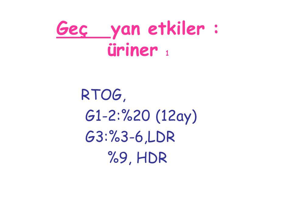 Geç yan etkiler : üriner 1 RTOG, G1-2:%20 (12ay) G3:%3-6,LDR %9, HDR