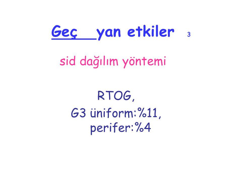 Geç yan etkiler 3 sid dağılım yöntemi RTOG, G3 üniform:%11, perifer:%4