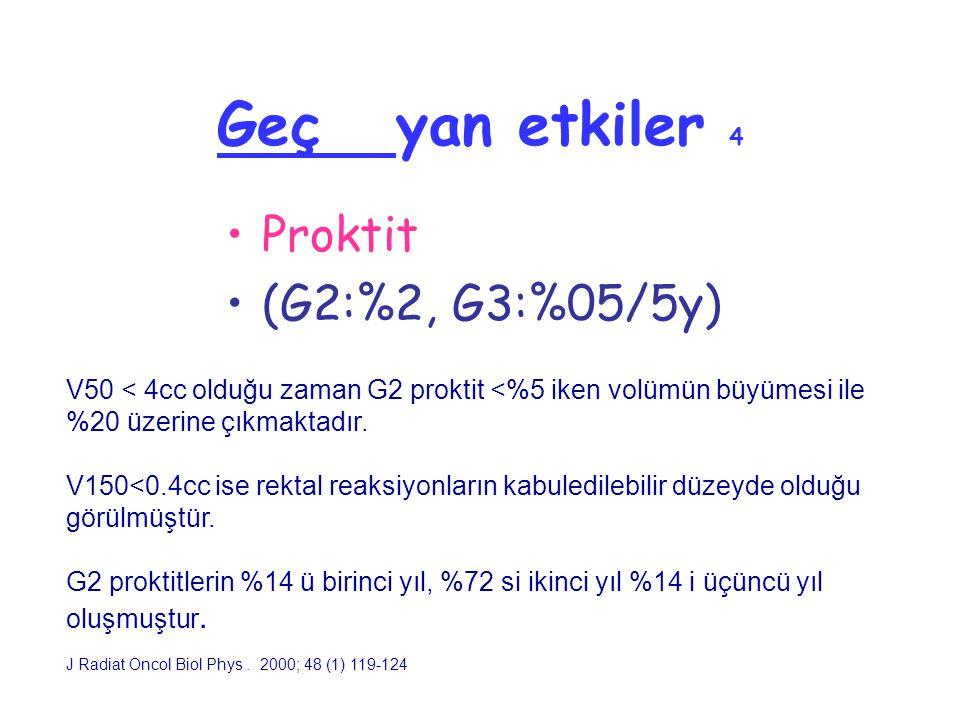 Geç yan etkiler 4 Proktit (G2:%2, G3:%05/5y) V50 < 4cc olduğu zaman G2 proktit <%5 iken volümün büyümesi ile %20 üzerine çıkmaktadır. V150<0.4cc ise r