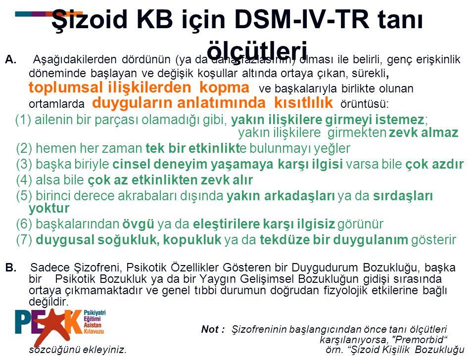 Şizoid KB için DSM-IV-TR tanı ölçütleri A. Aşağıdakilerden dördünün (ya da daha fazlasının) olması ile belirli, genç erişkinlik döneminde başlayan ve