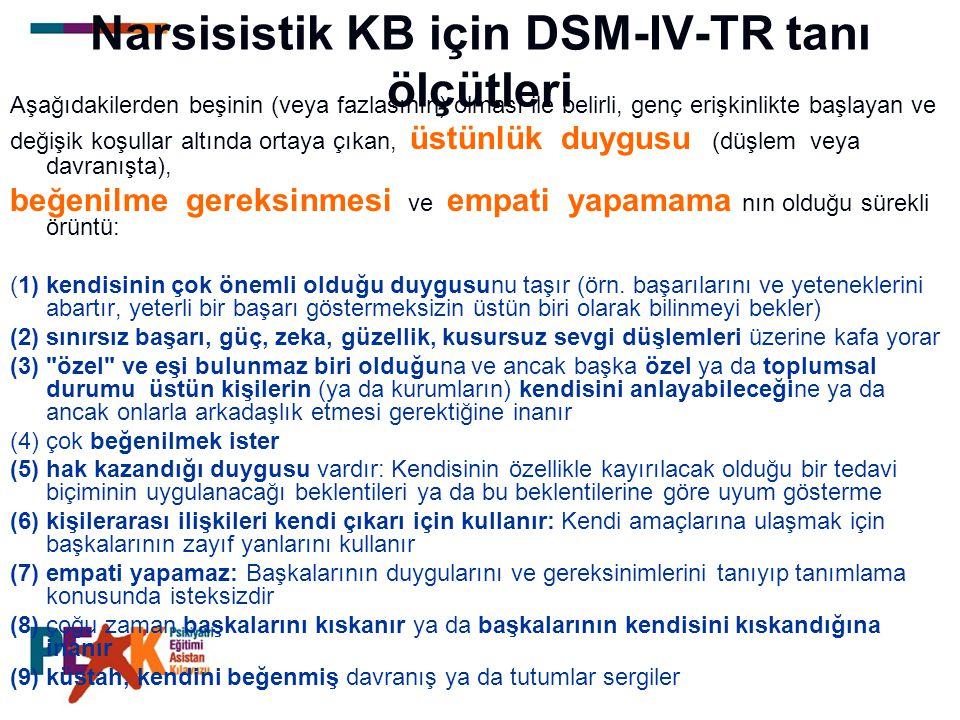 Narsisistik KB için DSM-IV-TR tanı ölçütleri Aşağıdakilerden beşinin (veya fazlasının) olması ile belirli, genç erişkinlikte başlayan ve değişik koşul