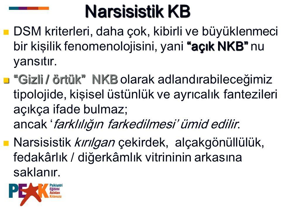 """Narsisistik KB """"açık NKB"""" DSM kriterleri, daha çok, kibirli ve büyüklenmeci bir kişilik fenomenolojisini, yani """"açık NKB"""" nu yansıtır. """"Gizli / örtük"""""""