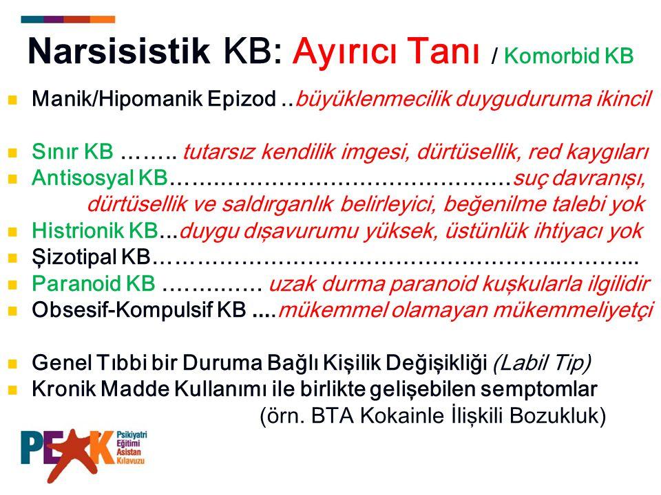 Narsisistik KB: Ayırıcı Tanı / Komorbid KB Manik/Hipomanik Epizod..büyüklenmecilik duyguduruma ikincil Sınır KB …….. tutarsız kendilik imgesi, dürtüse