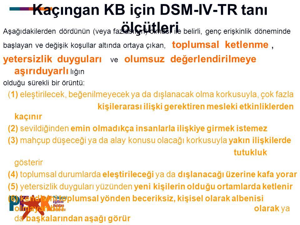 Kaçıngan KB için DSM-IV-TR tanı ölçütleri Aşağıdakilerden dördünün (veya fazlasının) olması ile belirli, genç erişkinlik döneminde başlayan ve değişik