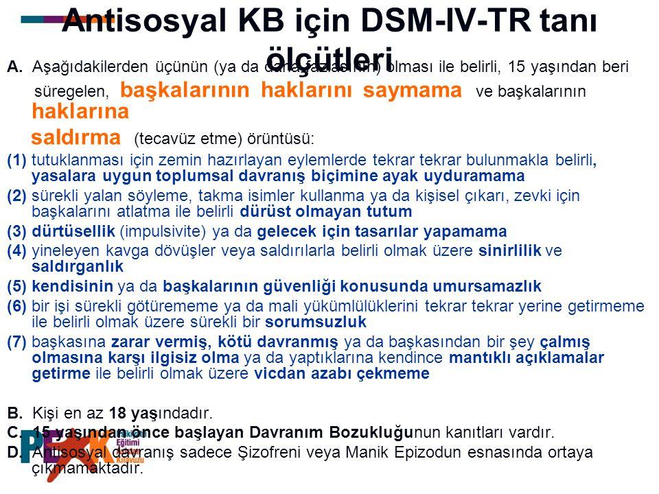 Antisosyal KB için DSM-IV-TR tanı ölçütleri A. Aşağıdakilerden üçünün (ya da daha fazlasının) olması ile belirli, 15 yaşından beri süregelen, başkalar