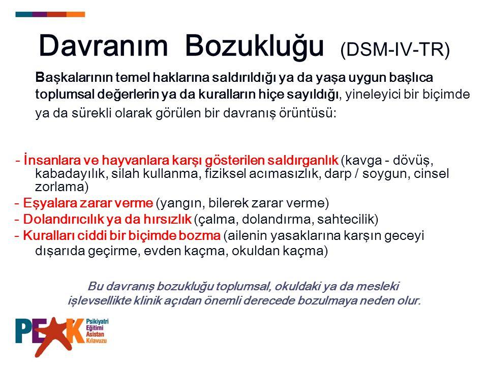 Davranım Bozukluğu (DSM-IV-TR) B aşkalarının temel haklarına saldırıldığı ya da yaşa uygun başlıca toplumsal değerlerin ya da kuralların hiçe sayıldığ