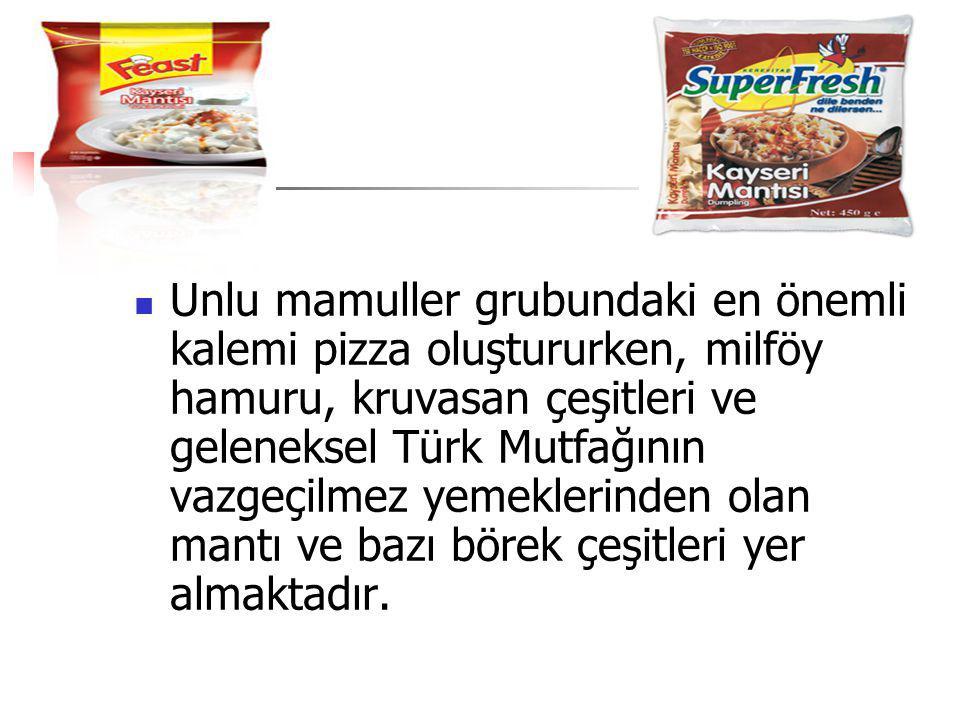 Unlu mamuller grubundaki en önemli kalemi pizza oluştururken, milföy hamuru, kruvasan çeşitleri ve geleneksel Türk Mutfağının vazgeçilmez yemeklerinde