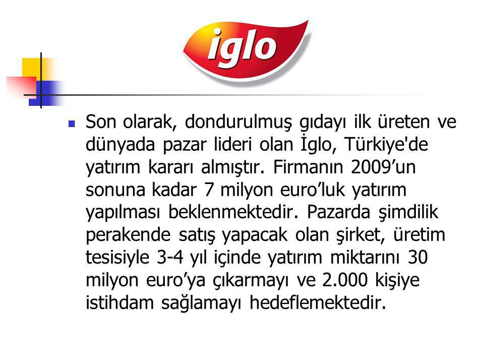 Son olarak, dondurulmuş gıdayı ilk üreten ve dünyada pazar lideri olan İglo, Türkiye'de yatırım kararı almıştır. Firmanın 2009'un sonuna kadar 7 milyo