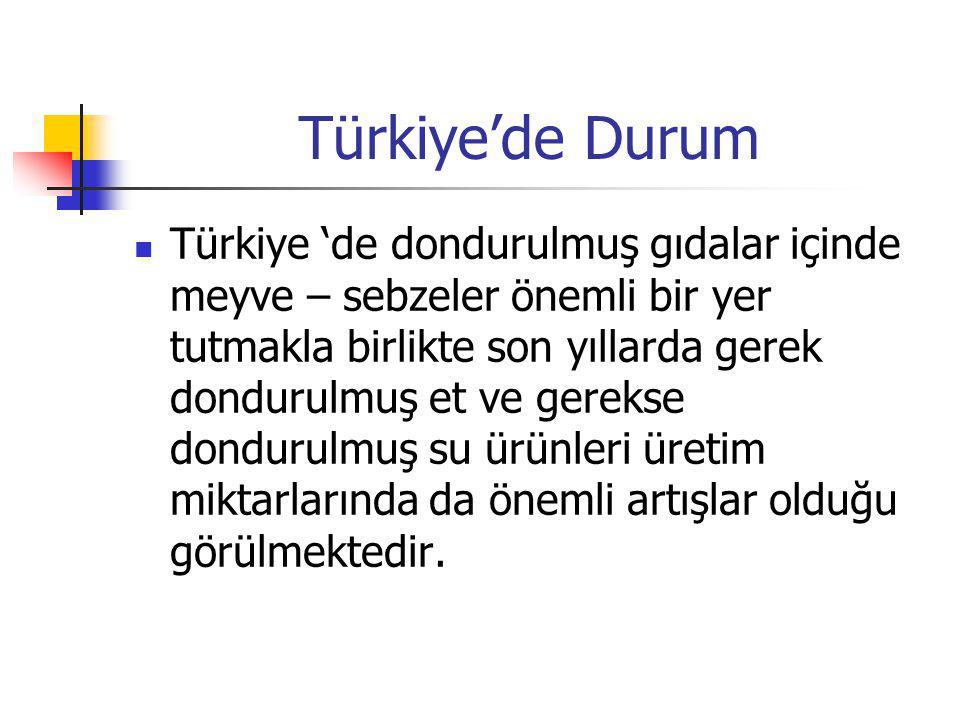 Türkiye'de Durum Türkiye 'de dondurulmuş gıdalar içinde meyve – sebzeler önemli bir yer tutmakla birlikte son yıllarda gerek dondurulmuş et ve gerekse