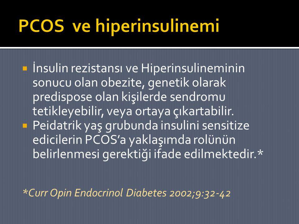  İnsulin rezistansı ve Hiperinsulineminin sonucu olan obezite, genetik olarak predispose olan kişilerde sendromu tetikleyebilir, veya ortaya çıkartab