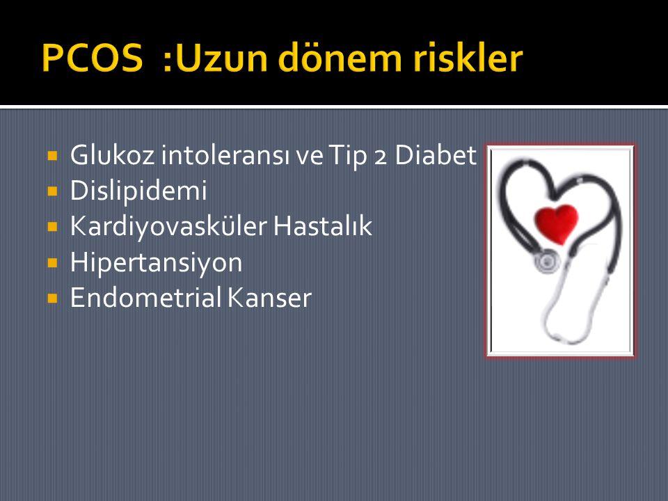  Glukoz intoleransı ve Tip 2 Diabet  Dislipidemi  Kardiyovasküler Hastalık  Hipertansiyon  Endometrial Kanser