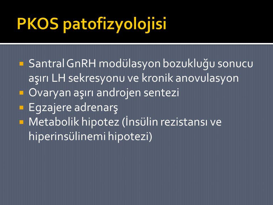  Santral GnRH modülasyon bozukluğu sonucu aşırı LH sekresyonu ve kronik anovulasyon  Ovaryan aşırı androjen sentezi  Egzajere adrenarş  Metabolik