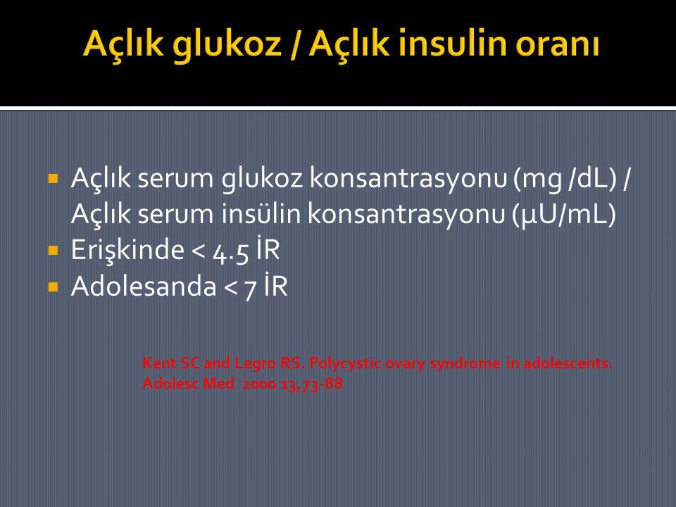  Açlık serum glukoz konsantrasyonu (mg /dL) / Açlık serum insülin konsantrasyonu (μU/mL)  Erişkinde < 4.5 İR  Adolesanda < 7 İR Kent SC and Legro R