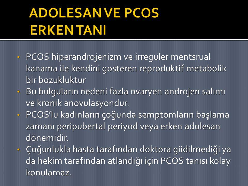 PCOS hiperandrojenizm ve irreguler kanama ile kendini gosteren reproduktif metabolik bir bozukluktur PCOS hiperandrojenizm ve irreguler mentsrual kana