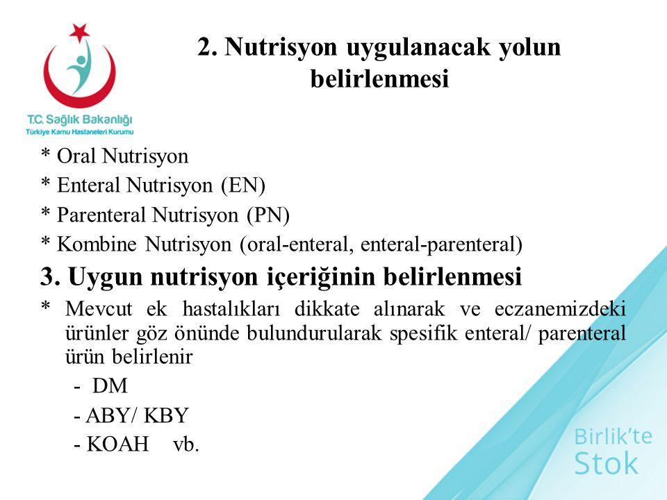 2. Nutrisyon uygulanacak yolun belirlenmesi * Oral Nutrisyon * Enteral Nutrisyon (EN) * Parenteral Nutrisyon (PN) * Kombine Nutrisyon (oral-enteral, e