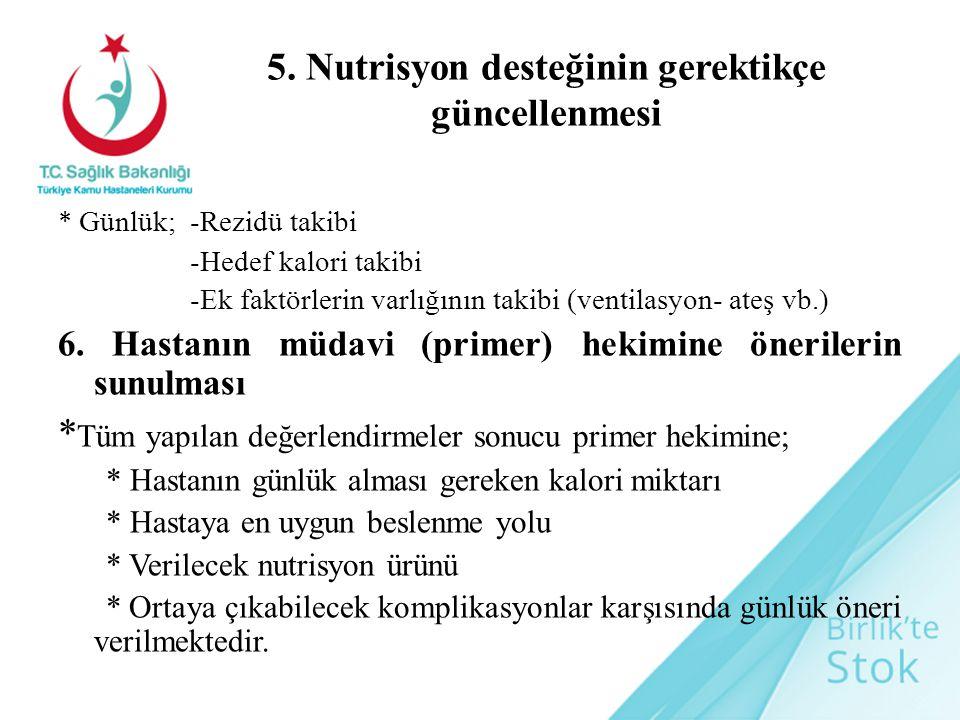 5. Nutrisyon desteğinin gerektikçe güncellenmesi * Günlük; -Rezidü takibi -Hedef kalori takibi -Ek faktörlerin varlığının takibi (ventilasyon- ateş vb