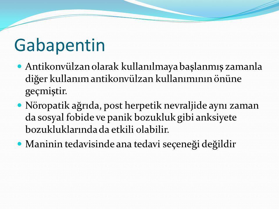 Gabapentin Antikonvülzan olarak kullanılmaya başlanmış zamanla diğer kullanım antikonvülzan kullanımının önüne geçmiştir. Nöropatik ağrıda, post herpe