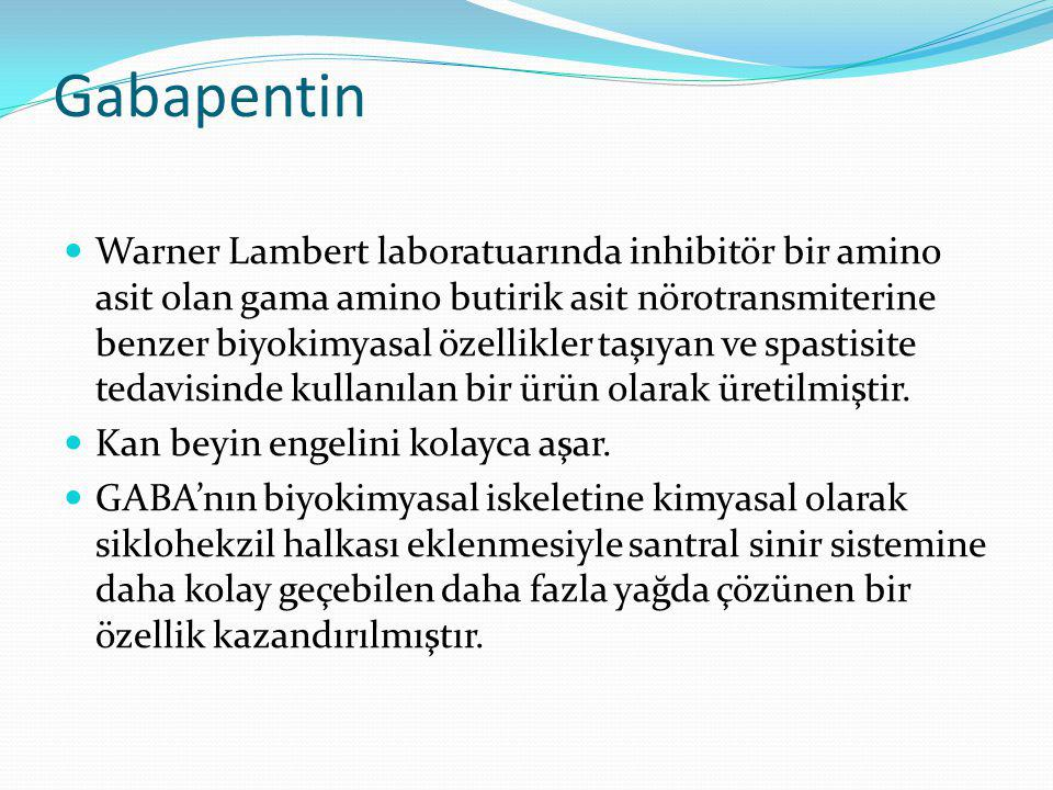 Gabapentin Warner Lambert laboratuarında inhibitör bir amino asit olan gama amino butirik asit nörotransmiterine benzer biyokimyasal özellikler taşıya
