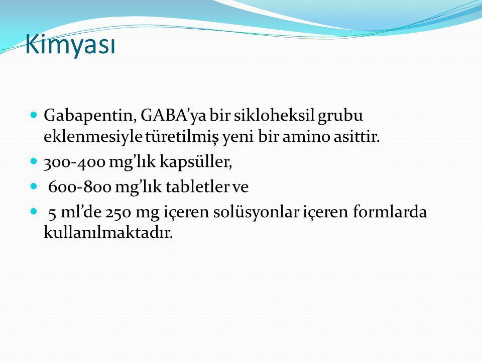 Kimyası Gabapentin, GABA'ya bir sikloheksil grubu eklenmesiyle türetilmiş yeni bir amino asittir. 300-400 mg'lık kapsüller, 600-800 mg'lık tabletler v