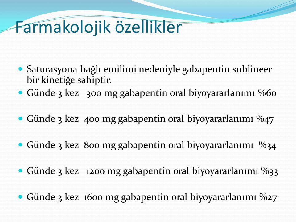 Farmakolojik özellikler Saturasyona bağlı emilimi nedeniyle gabapentin sublineer bir kinetiğe sahiptir. Günde 3 kez 300 mg gabapentin oral biyoyararla