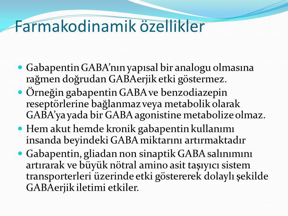 Farmakodinamik özellikler Gabapentin GABA'nın yapısal bir analogu olmasına rağmen doğrudan GABAerjik etki göstermez. Örneğin gabapentin GABA ve benzod
