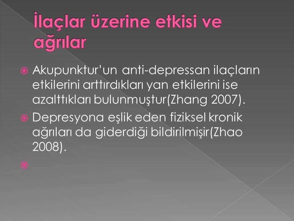  Akupunktur'un anti-depressan ilaçların etkilerini arttırdıkları yan etkilerini ise azalttıkları bulunmuştur(Zhang 2007).