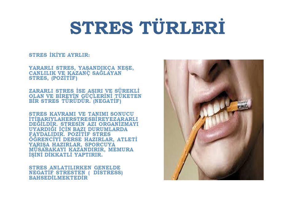 STRES TÜRLERİ STRES İKİYE AYRLIR: YARARLI STRES, YAŞANDIKÇA NEŞE, CANLILIK VE KAZANÇ SAĞLAYAN STRES, (POZİTİF) ZARARLI STRES İSE AŞIRI VE SÜREKLİ OLAN
