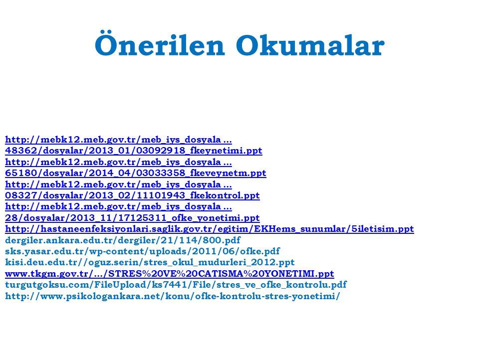 Önerilen Okumalar http://mebk12.meb.gov.tr/meb_iys_dosyala... 48362/dosyalar/2013_01/03092918_fkeynetimi.ppt http://mebk12.meb.gov.tr/meb_iys_dosyala.