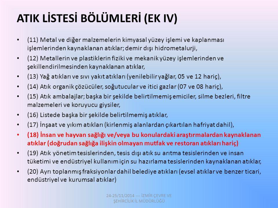 ATIK LİSTESİ BÖLÜMLERİ (EK IV) (11) Metal ve diğer malzemelerin kimyasal yüzey işlemi ve kaplanması işlemlerinden kaynaklanan atıklar; demir dışı hidr