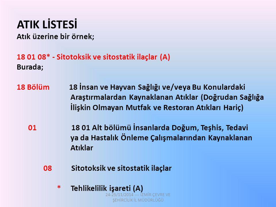 ATIK LİSTESİ Atık üzerine bir örnek; 18 01 08* - Sitotoksik ve sitostatik ilaçlar (A) Burada; 18 Bölüm 18 İnsan ve Hayvan Sağlığı ve/veya Bu Konularda