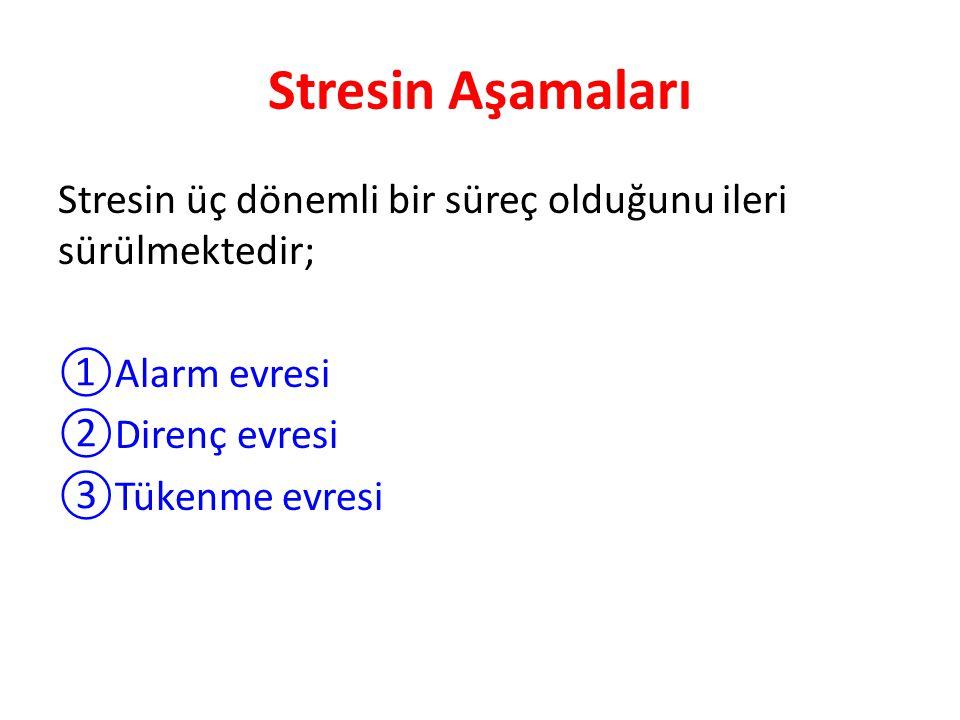 Stresin Aşamaları Stresin üç dönemli bir süreç olduğunu ileri sürülmektedir; ①Alarm evresi ②Direnç evresi ③Tükenme evresi