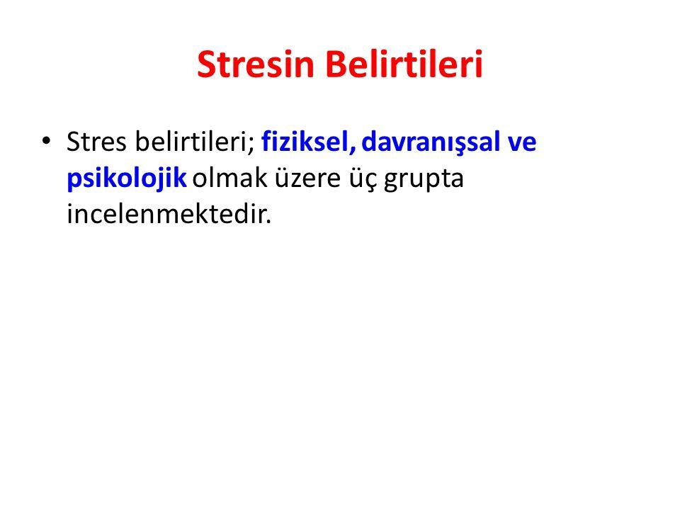 Stresin Belirtileri Stres belirtileri; fiziksel, davranışsal ve psikolojik olmak üzere üç grupta incelenmektedir.