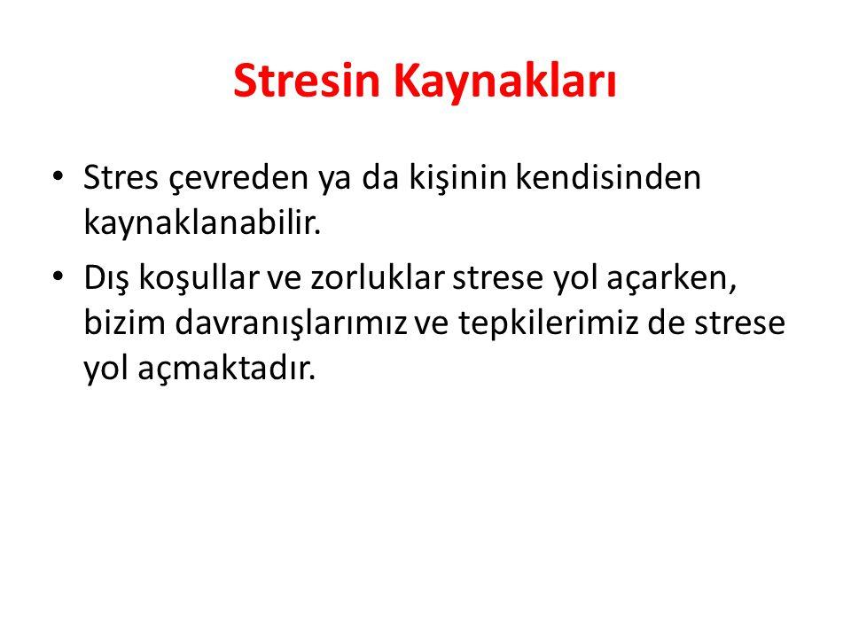 Stresin Kaynakları Stres çevreden ya da kişinin kendisinden kaynaklanabilir. Dış koşullar ve zorluklar strese yol açarken, bizim davranışlarımız ve te